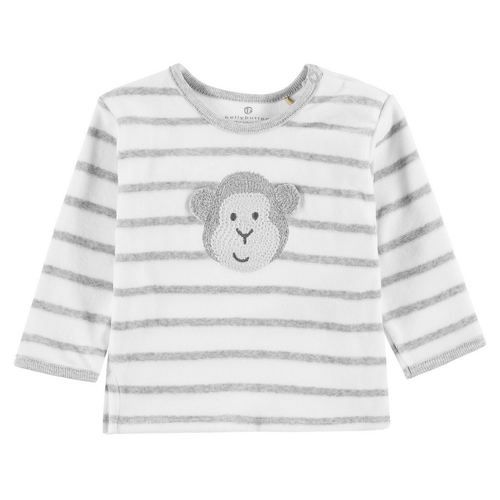 bellybutton Baby-Sweatshirt Nicky gestreift, Größe: 62 - Morning Gray