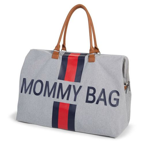 Childhome Mommy Bag Wickeltasche gross - Canvas Grey Stripes Red-Blue