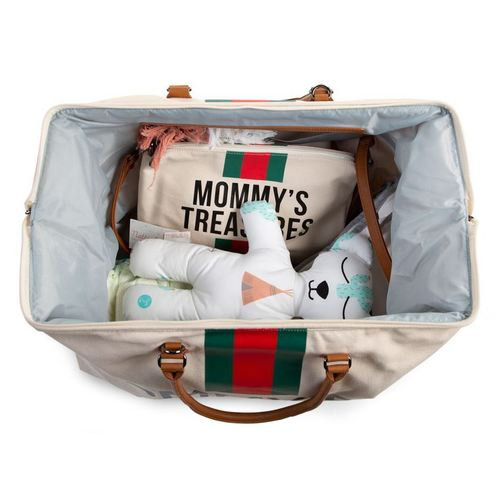 Childhome Mommy Bag Wickeltasche gross - Canvas Off White Stripes Green-Red