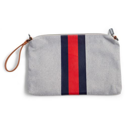 Childhome Mommy Clutch - Canvas Grey Stripes Red-Blue